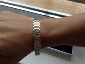 Мужской браслет из серебра с золотыми вставками