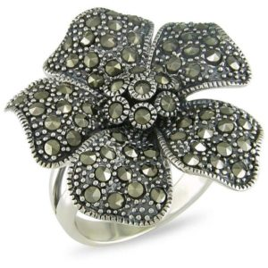 Кольцо из серебра с марказитами