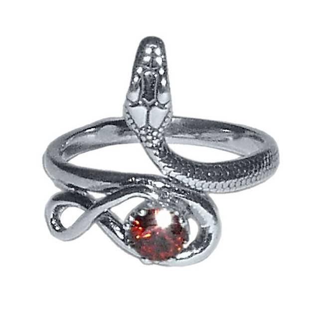 Гранатовое кольцо со змеей