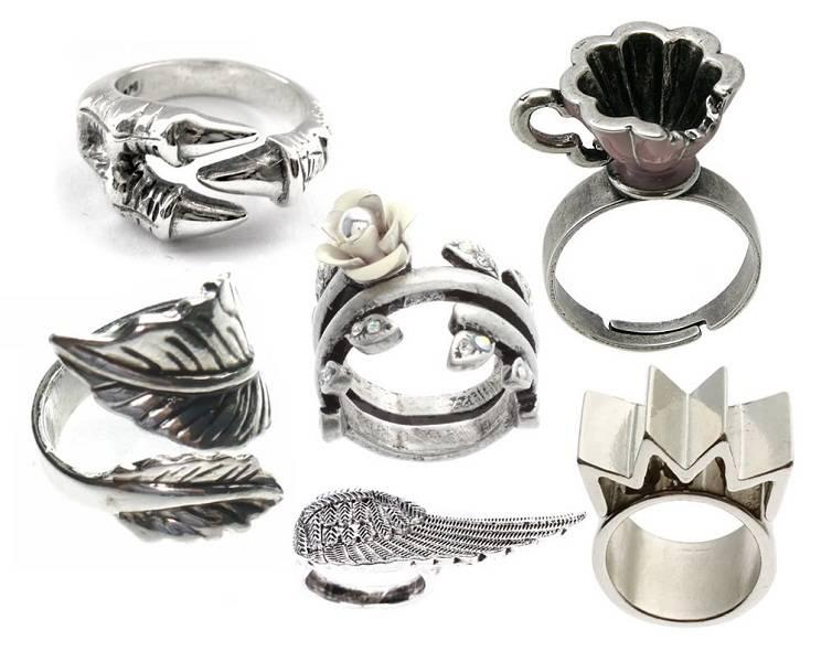 Оригинальные серебряные кольца