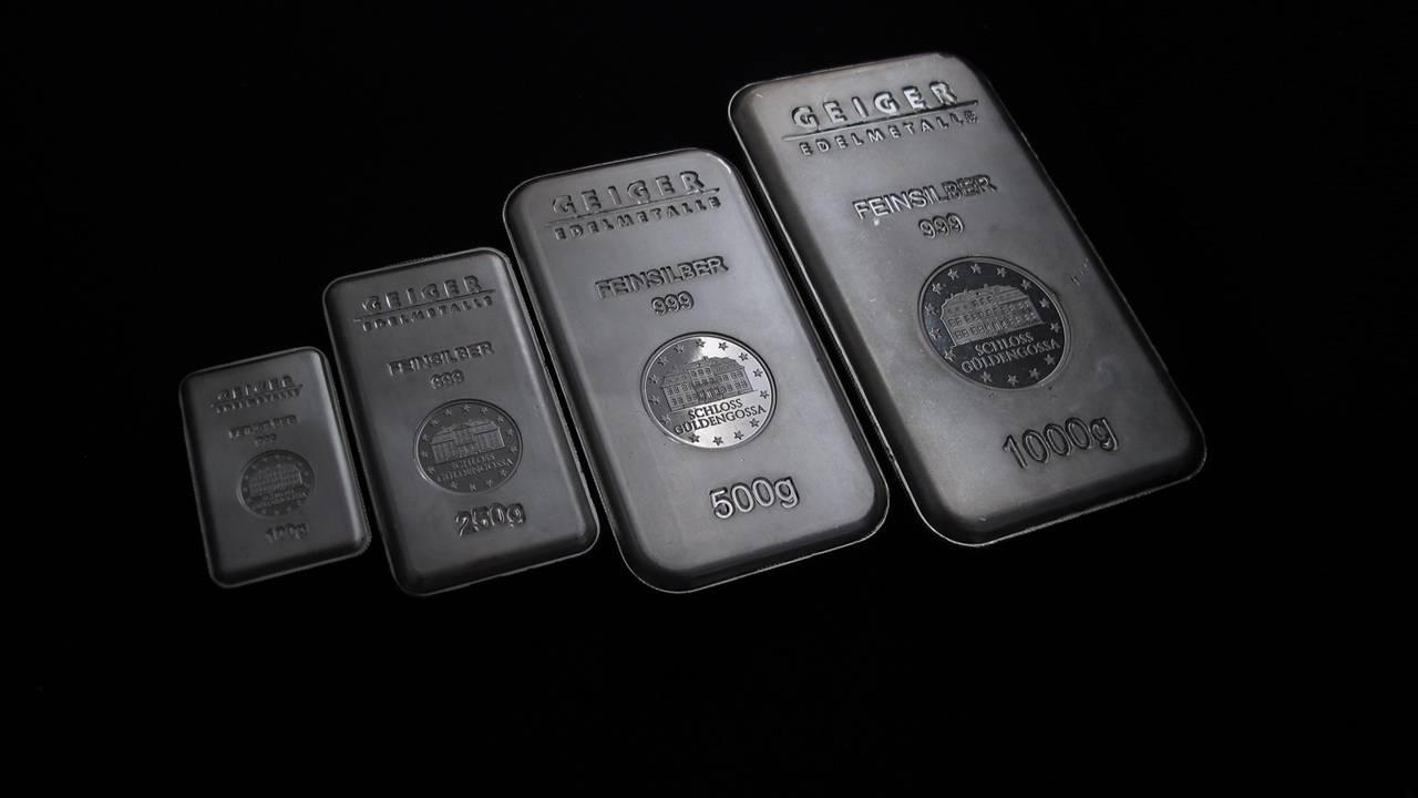 Банковские бруски серебра разного веса